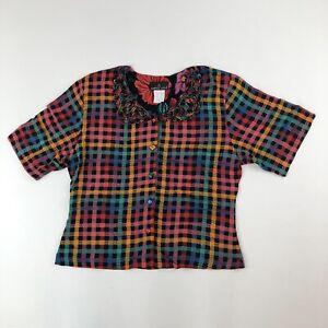 Vtg-Carole-Little-Multicolored-Checked-S-S-Blouse-w-Loop-Lattice-Collar-Sz-12