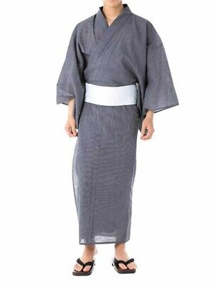 Les hommes japonais Traditionnel du Yukata Summer Kimono Obi Belt Set Japon C-20 bleu marine