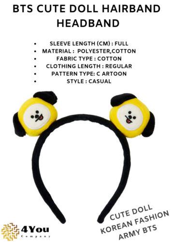 Official  BTS BT21 Headband BTS Authentic Line Friends Plush Hair Band Cute Doll