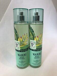 Details About 2 New Bath Body Works Waikiki Beach Coconut Fine Fragrance Mist Spray 8 Oz
