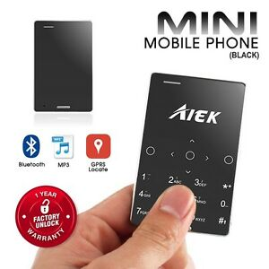 AIEK M4 Black Ultra Slim Card Size Mini Bar Bluetooth FM MP3 SD GSM Cell Phone