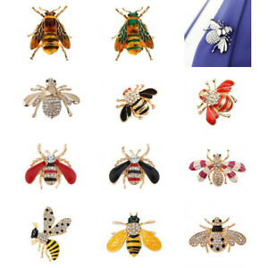 Stunning-Crystal-Honey-Bee-Brooch-Pin-Insect-Bug-Hat-Lapel-Scarf-Pin-Badge