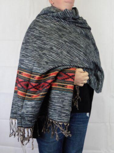 Aztec Ikat Brushed Indian Made Soft Acrylic Large Shawl//Blanket 94 x 200 cm