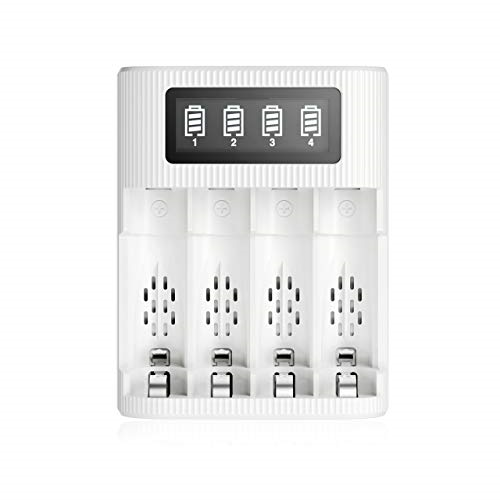 EBL AA AAA Battery Charger 4 Slots LCD Charger for AA AAA Rechargeable Batteries