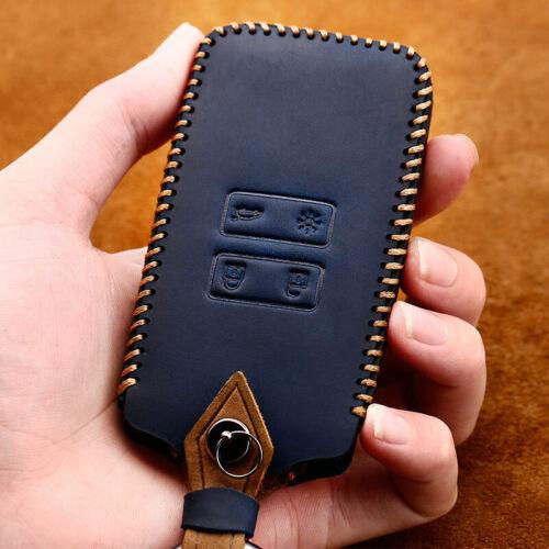 Schlüssel Hülle Leder Cover Schwarz für Renault Megane Kadjar Clio Captur Blau