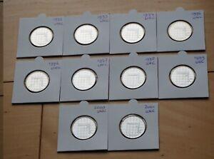 Nederland-10x-1-gulden-1992-1993-1994-1995-1996-1997-1998-1999-2000-2001-UNC