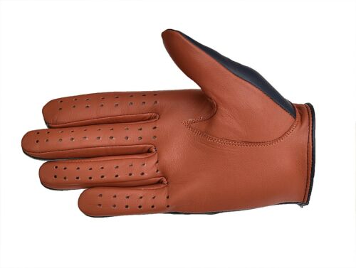 MEN/'S CHAUFFEUR REAL SHEEP  LEATHER CAR DRIVING TRUCKING RIDING GLOVES  2 TONE