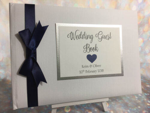 Birthday Engagement PERSONALISED HEART WEDDING GUEST BOOK /& SIGN Anniversary
