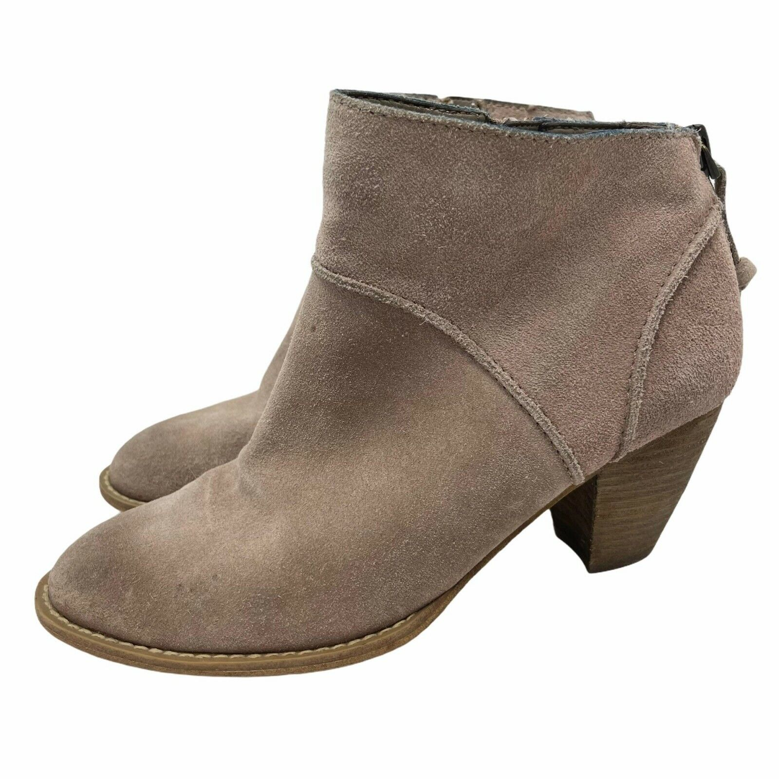 Tesori Suede Leather Ankle Booties Taupe Tan Gray Women's 7.5 Stacked Heel Zip