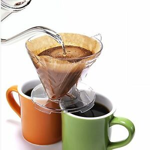 Coffee Double Dripper CLEAR Pour Over Coffee Brewing Drip Two Cups At a time