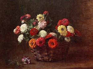 Excellent-Oil-painting-Henri-Fantin-Latour-Zinnias-in-basket-canvas