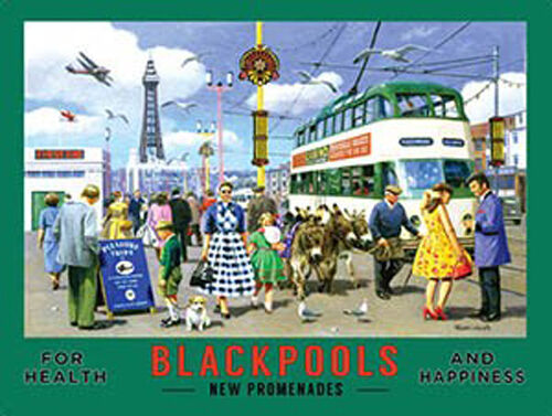 Blackpool Promenades Tower Beach Lights Pier Seaside Small Metal Steel Sign