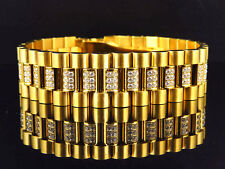 Mens Yellow Gold Finish Stainless Steel Presidential Lab Diamond Bracelet (18MM)