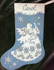 Vintg VICTORIAN ANGEL XMAS STOCKING Kit EMBROIDERED CUTWORK LACE LOOK Sealed NOS