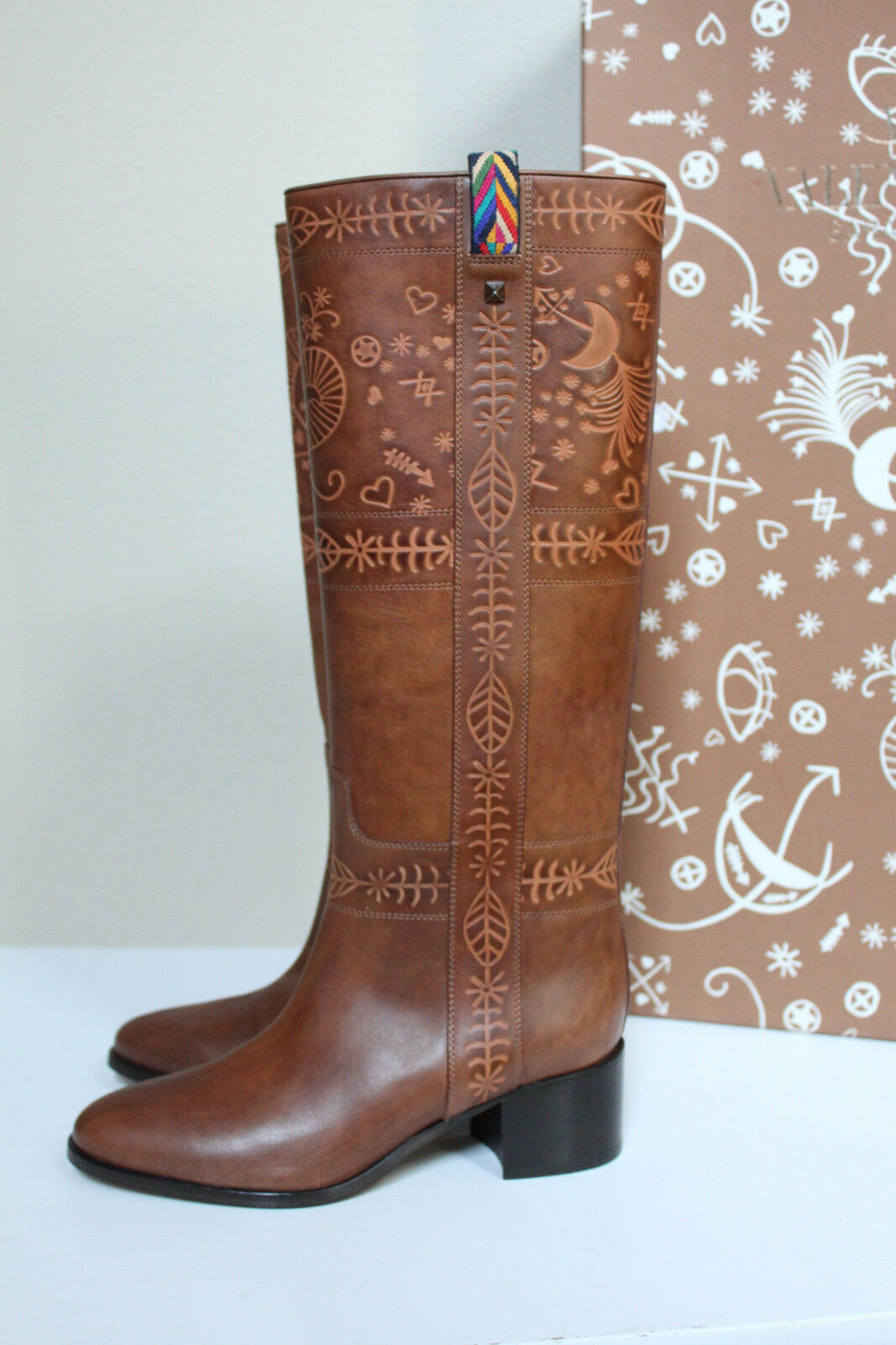 New sz 5 / 35 Valentino Santeria Brown Leather Southwestern Tall Boot Shoes