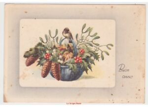 1949-G-Card-Best-Wishes-Vintage-Basket-Christmas-Mistletoe-Holly-Pinecones