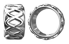 ONE STERLING SILVER CHARM SPACER BEAD WITH WAVY DESIGN AND LARGE HOLE, 8 X 5 MM
