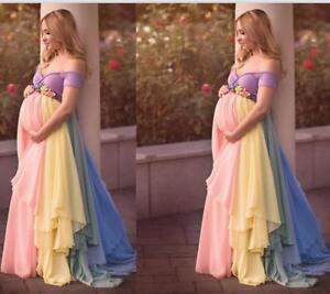 New Rainbow Maternity Dress Evening Dress For Pregnant Women High Waist Custom Ebay