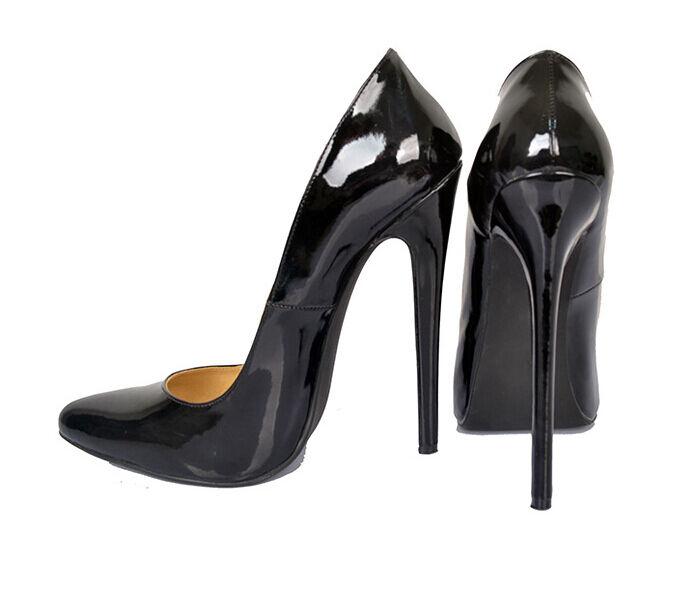 Sexy femme cuir verni 16 Cm Talon Haut Bout Pointu Nightclub Chaussures Taille 6-12