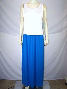 0a35a79fc56268 NY Collection White Blue Sleeveless Maxi Dress Womens Size Medium 8 ...