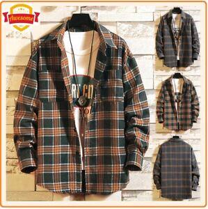 Camisa-informal-de-Hombre-Franela-a-Cuadros-Manga-Larga-Otono-Invierno-para-Hombre-Mujer-Vintage