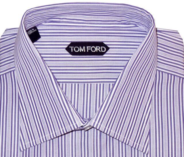 $615 NEW TOM FORD PURPLE WHITE STRIPES MENS HAND MADE DRESS SHIRT EU 44 17.5