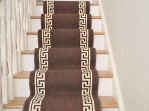 Brown-Stairs-Hall-Carpet-Mat-Greek-Washable-Long-Non-Slip-Rubber-Back-Runner