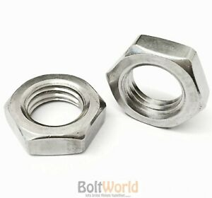 2 Bolt Base 12mm A2 Stainless Steel Fine Pitch Hexagon Half Lock Nuts Hex Thin Nut DIN 439 M12 X 1.0mm