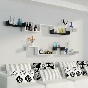3pcs Floating Shelves Set Bookshelf Wall Mount Shelf Display Home