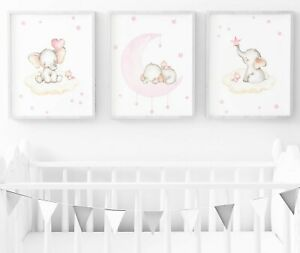Details About Pink Elephant Nursery Print Set Of 3 Baby Room Wall Art Decor