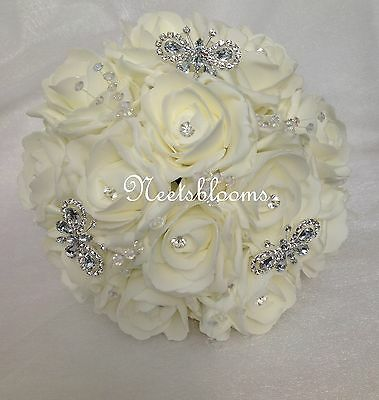 Bridesmaids  diamante  brooch  Foam rose wedding bouquet White or Ivory 3 styles