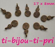 LOT de 12 PENDENTIFS perles breloques DOUBLES SPIRALES 17x8mm BRONZE sans nickel