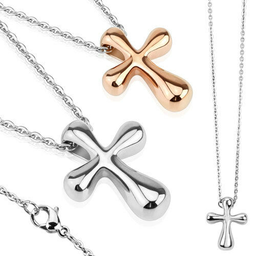 Colgante de acero inoxidable Rose oro Rosegold plata cruz Cross con collar cadena