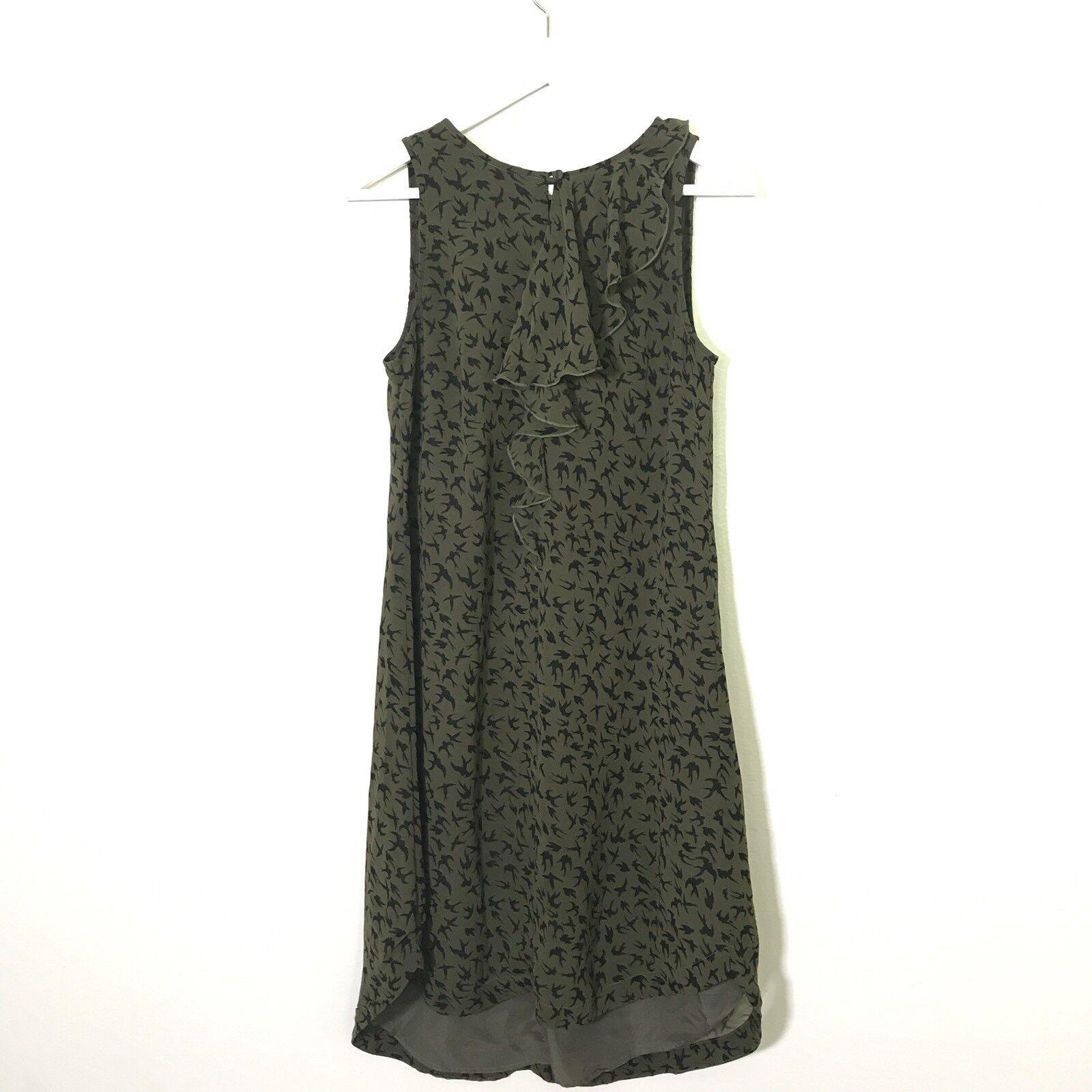 db7276a8fed Eshakti S Sleevless Print Ruffle Green Shift Swing Hi-Low Dress Olive Bird  oapopl1530-Dresses