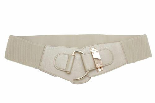 Gorgeous Women Prom Belt Metallic Beige Elastic Hip Waist Gold Hook Buckle L XL