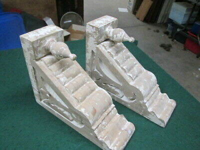 BRACKETS Distressed White Ornate Wood Corbels Set Of 2 LARGE RUSTIC CORBELS