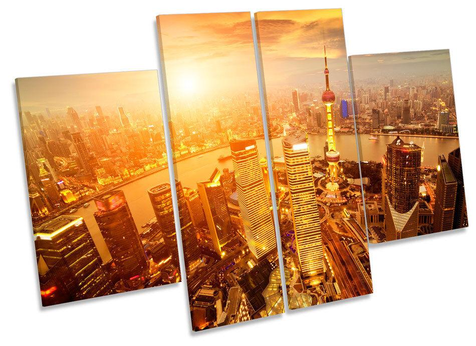 Shanghai horizonte de la ciudad china de Lona  Pa rojo  Lona Arte Marco de Caja de impresión de panel de múltiples 2e77ae