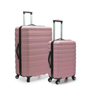 Details about Women\u0027s 2 Piece Pink Hardside Luggage Set Cute Lightweight  Rolling Suitcases TSA