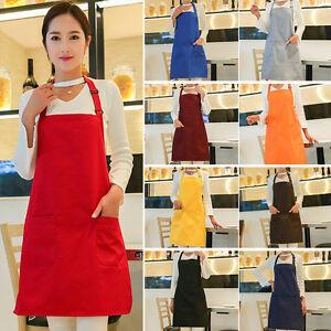 Women Solid Cooking Kitchen Restaurant Bib Apron Dress with Pocket Adjustable