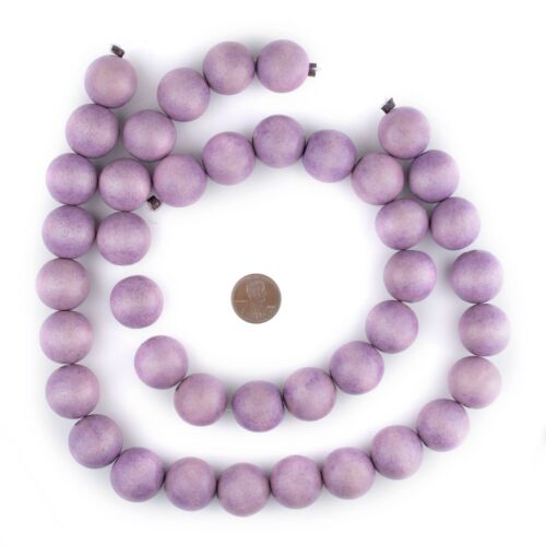 Purple Round Natural Wood Beads 20mm Large Hole 16 Inch Strand