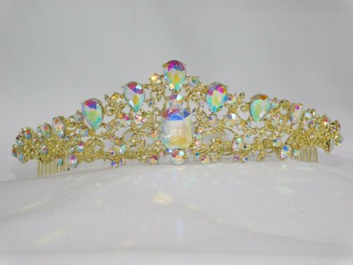 Gold AB Iridescent Rhinestone Crystal Queen Tiara Crown Bridal Pageant //1383