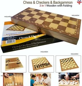 CHESS-SET-3-in1-FOLDING-WOODEN-Board-Game-Chess-amp-Checkers-amp-Backgammon-Gift