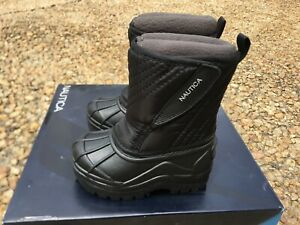 NEW Nautica Winter Snow Boots Toddler Sz 5 Black Removable Fleece Lining 5c