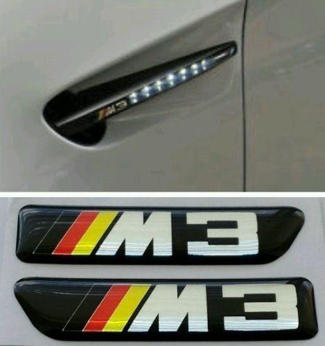 2 German colour BMW M3 Side Fender Vent Grill Emblems Badges sport Tech