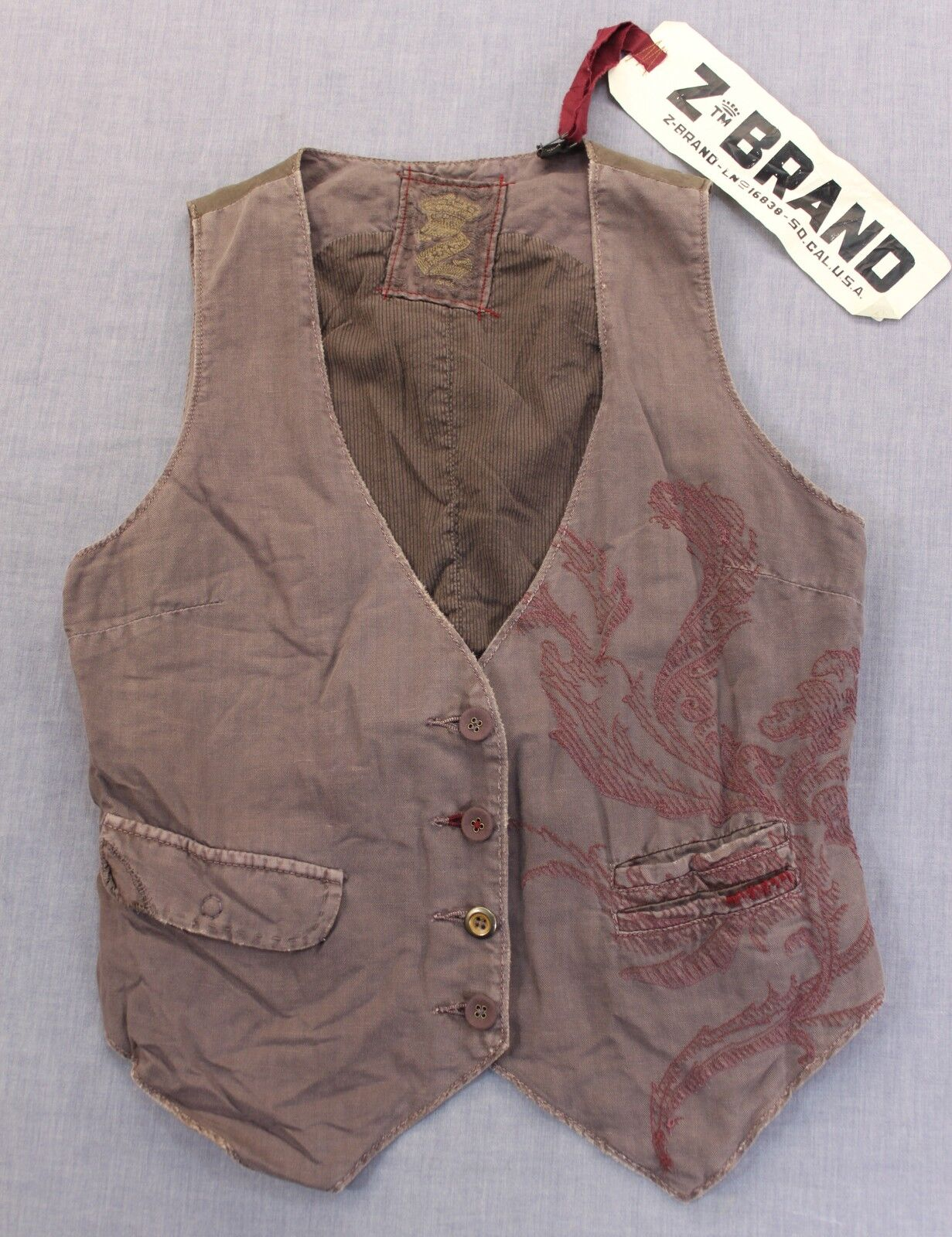 Z-BRAND AGED Men lila grau FLORAL EMBROIDEROT LINEN DISTRESSED VEST NWT S 290