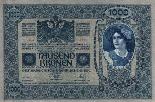 BIG SIZE UNC P.59 CRISP AUSTRIA HUNGARY 1000 KRONEN 1902 UNC BUT AUNC