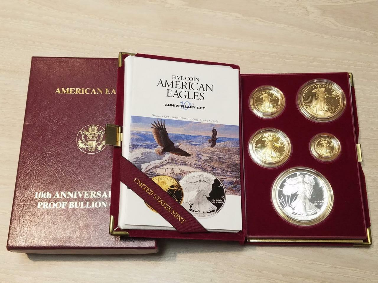 1995 W Proof Gold And Silver American Eagles 10th