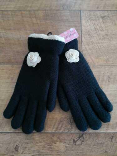 Femmes Fleur Gants super épais chaud hiver mode en maille polaire doublé Cosy