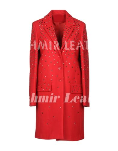 Full Leather Coat Silver Red Pp Studded Suede Unique New Plein Woman Brando Long vw7qnHWt