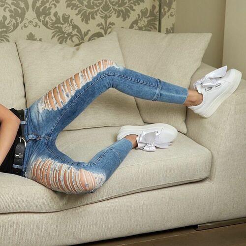 BY ALINA Damenjeans Jeans Damenhose Röhrenjeans Hüftjeans Fetzenlook 32-36 #B706